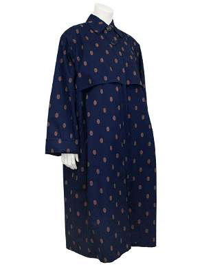 Gianfranco Ferre Navy and Brown Polka Dot Spring Weight