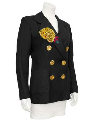 Christian Lacroix Black Linen Double Breasted Jacket