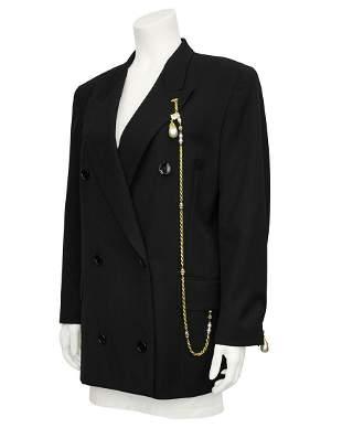 Gianfranco Ferre Black Blazer with Baroque Pearl & Gold