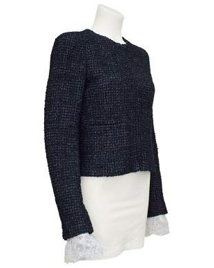 Chanel Grey Tweed Jacket with Lace Cuffs