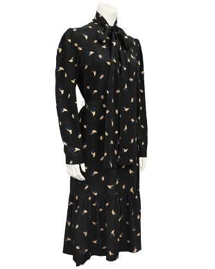 Guy Laroche Black Silk Leaf Print Dress