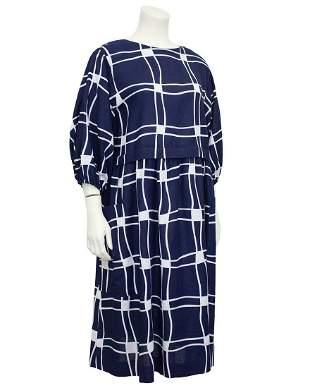 Guy Laroche Navy Blue and White Cotton Dress