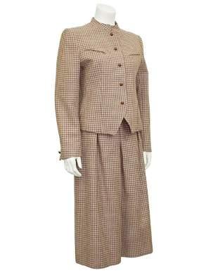 Guy Laroche Brown Plaid Skirt Suit