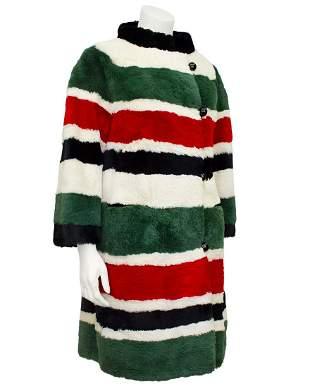 I. Magnin Striped Sheared Beaver Mini Coat