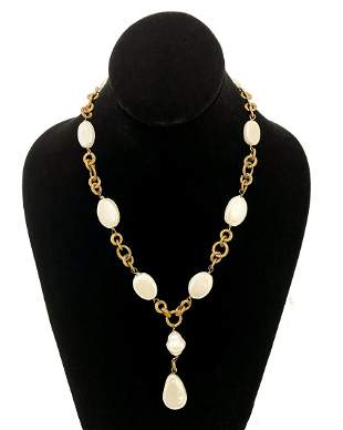 Chanel Pearl and Gilt Metal Chain Drop Necklace