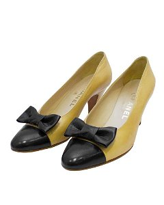 Chanel Beige Leather Pumps with Black Cap Toe & Bow