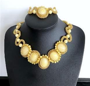 Splendid Amber Bracelet and Necklace set made from