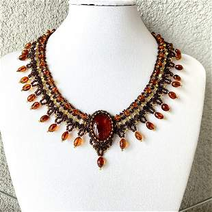 Unique and Magnificent Amber Floral Necklace made from