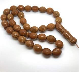 Splendid Unique Antique Amber Tesbih made from Olive