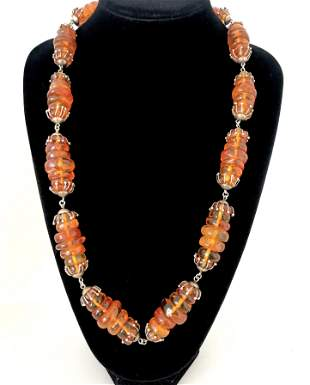Stunning Vintage Amber Necklace made from Oval shaped