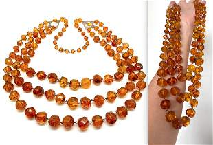 Antique Amber Necklace made from Hand Carved Amber