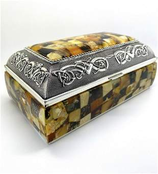 Staggering Unique Vintage Amber Jewellery box