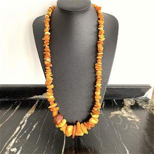 Phenomenal Unique Vintage Amber Necklace made from