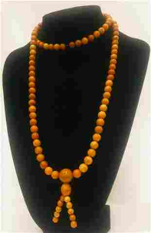Phenomenal Unique Antique Amber Mala made from Round