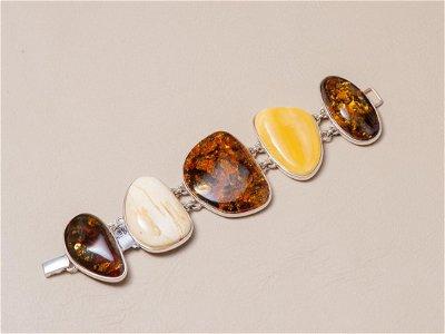Natural amber & silver bracelet