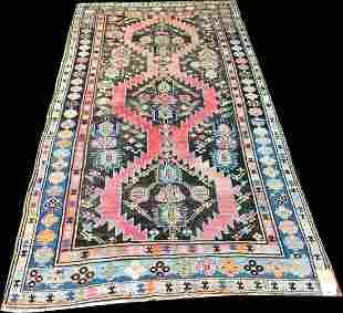 Antique Decorative Worn Out Caucasian Karabagh Runner