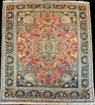 "Astonishing Vintage 10' x 13'-6"" Silk & Wool 400"