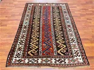 Antique Strip design Kazak Caucasian rug-1475