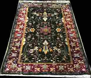 A Collectible Museum Piece, Antique 100% Silk Mughal
