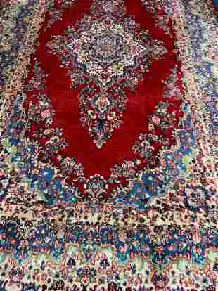 Hand Knotted Persian Kermen 13.4x9.6 ft