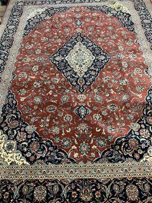 Hand Knotted Persian Kashan 9x12 ft