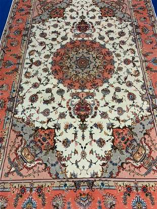 Hand Knotted Persian Silk&Wool Tabriz 10.4x6.4 ft
