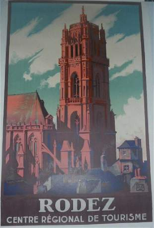 Original Vintage 1926 Rodez French Travel Poster Linen