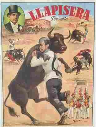 Original Vintage Spanish Llapisera Bull Fight Poster