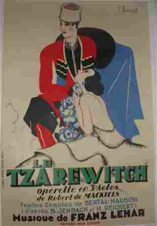 Original Vintage Le Tzarewitch Operetta Poster Linen