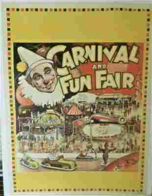 Original Vintage c.1930 Carnival and Fun Fair Poster