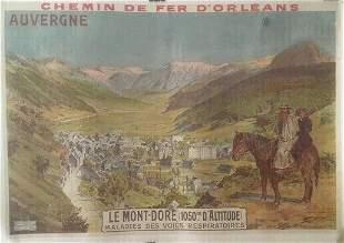 Original Vintage c.1910 Auvergne French Travel Poster