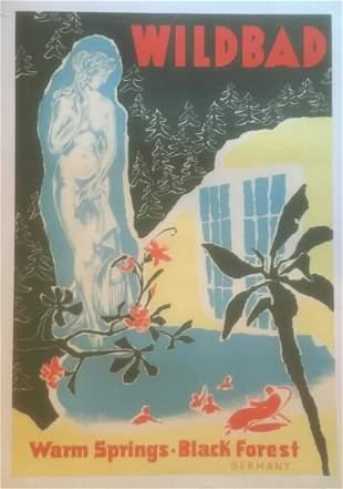 Original Vintage c.1950 Wilbad Germany Travelo Poster