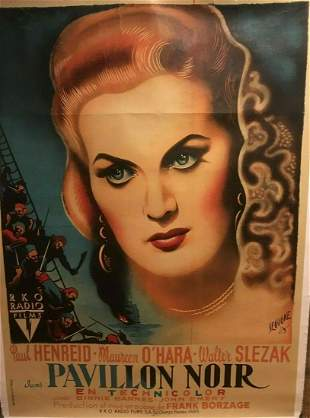 Original Vintage Maureen O'Hara Pavillion Noir French