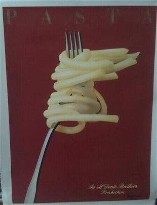 Original Vintage Razzia Pasta Poster Linen Backed