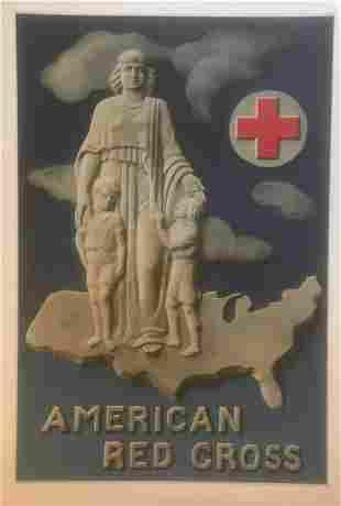 Original Vintage c.1940 American Red Cross Poster Linen
