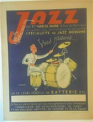 Original Vintage c.1930 Jazz French Lithographic Poster