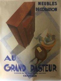 Original Vintage c.1930 Grand Pasteur Furniture Poster