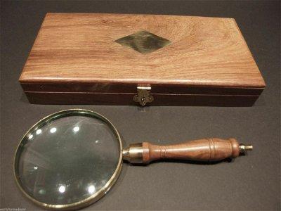 Magnifying Glass Brass w Wood Turned Hand Lens Desktop