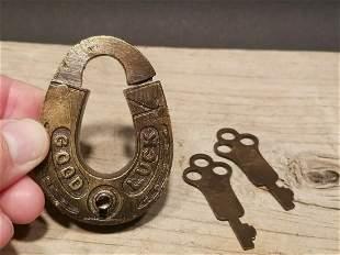 Brass Good Luck Padlock Lock & Key