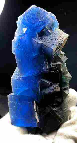 Fluorite , BiColor Cubic Fluorite Crystal From Pakistan