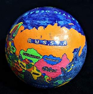 World Map On Lapis Lazuli Sphere - 5 KG