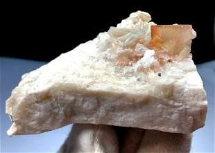 Topaz , Natural Topaz Crystal on Feldspar Mineral