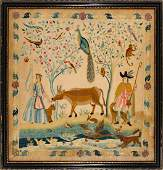 Mid 18th century embroidered Picture featuring a cow