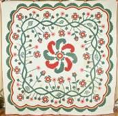 Rare 1870's Princess Feather & Floral Wreath Applique