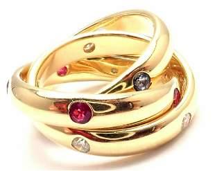 Cartier 18k Yellow Gold Ruby Sapphire Diamond Trinity