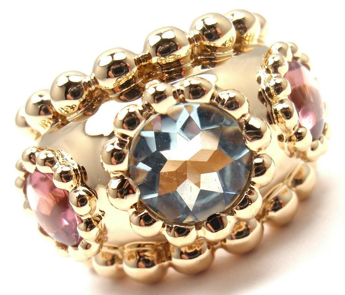 Chanel Baroque 18k Yellow Gold Aquamarine Pink