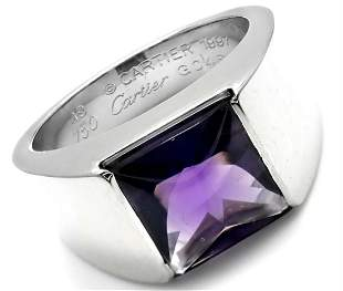 Cartier 18k White Gold Amethyst Tank Ring Size 49 US 4