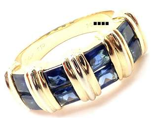 Cartier 18k Yellow Gold Sapphire Band Ring Size 52 US 6