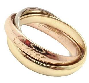 Cartier 18k Yellow White Rose Gold Trinity Band Ring
