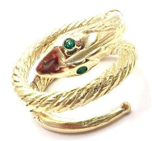 Vintage Cartier 18k Yellow Gold Emerald Snake Band Ring